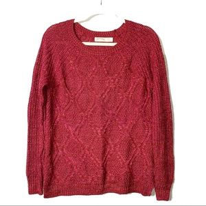 Faded Glory | Red Crewneck Cable-Knit Sweater |S